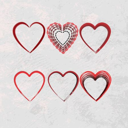 set of scribble hearts Vector