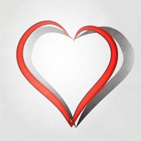 Painted brush heart shape. vector background. Vector