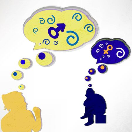 a woman thinks about a man and a man thinks about it. Love, thoughts and bubbles. the vector. Stock Vector - 12349791