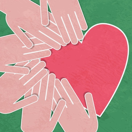 illustration of the human heart rescue people. Illustration