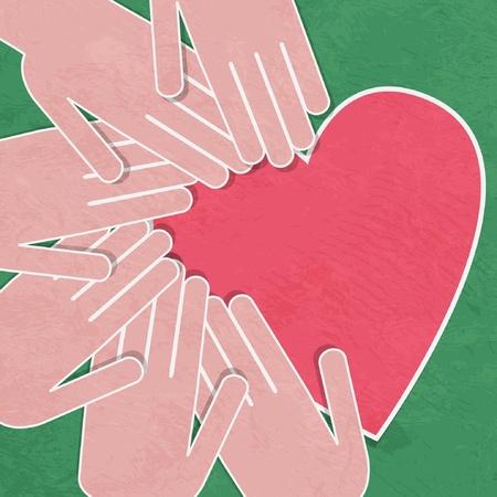 Ilustración De Manos Humanas Con El Corazón En Ella Ilustraciones ...