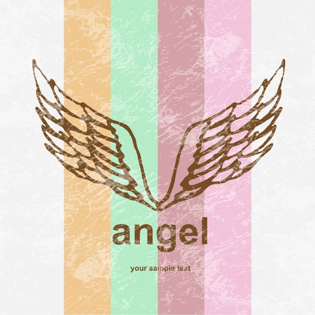 illustration of angel icon  retro background  Vector