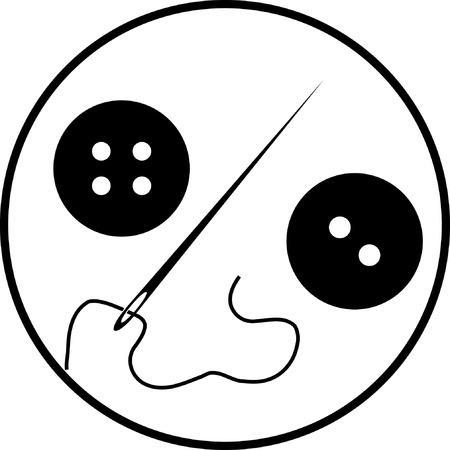 hilo rojo: Bot�n de la ropa con una aguja establece