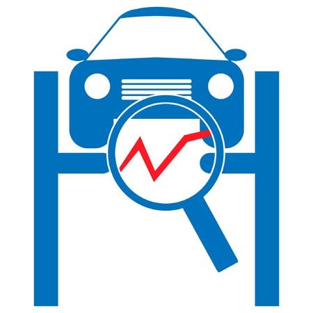 computer repair technician: Automotive diagnostic repair icon  Illustration