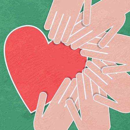 Hand holding the heart  Charity hands hold a heart Vector