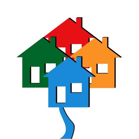 Design Für Eine Bewegende Ankündigung Mit Leuchtend Farbige Häuser ...