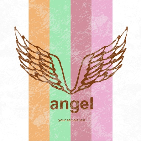 illustration of angel icon. retro background. Vector