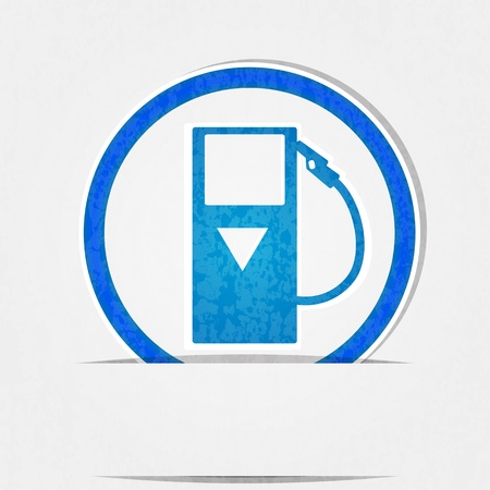 compliance: gas pump icon is blue on a white background in terms of compliance  Illustration