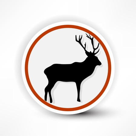 prohibited from shooting elk, red mark on a white background Stock Vector - 14133950