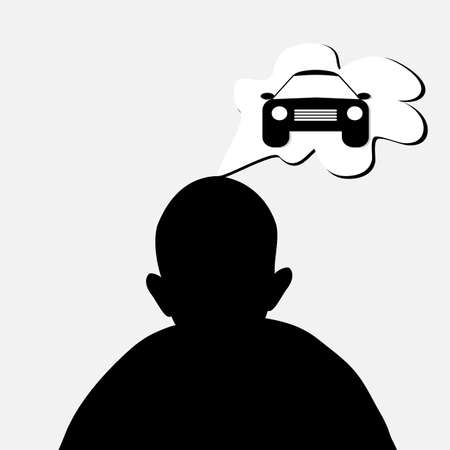 man dreaming about car Vector
