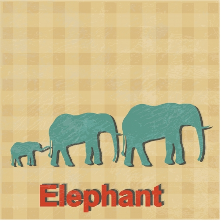 illustration of African elephants is done in a retro style. Fathers mothers family of elephants and a small elephant Vector