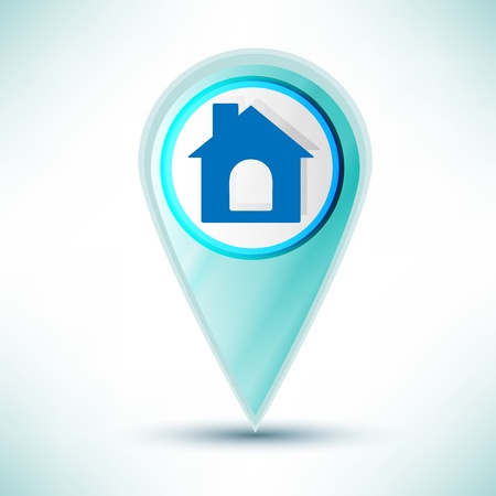 glossy web icon home design element on a blue background.