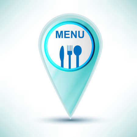 glossy  web icon restaurant design element on a blue background. Vector