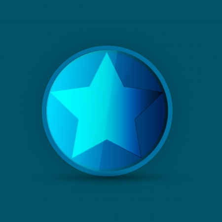 blue star icon on blue Stock Vector - 14133943