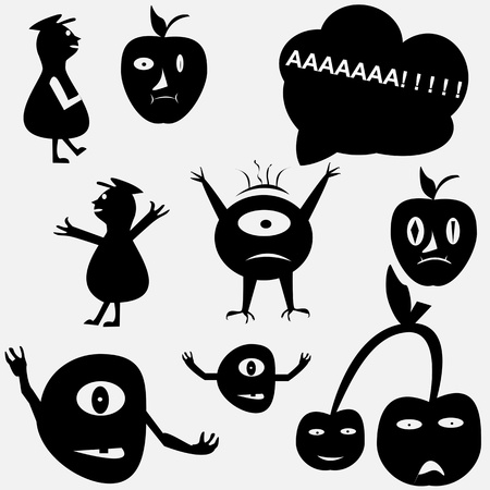 Cartoon funny monsters silhouettes Vector