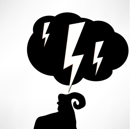 acute:  illustration of the problems, the ram and the cloud of black on white.