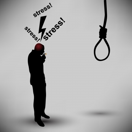 the noose: Businessman with thoughts of suicide smokes a cigarette