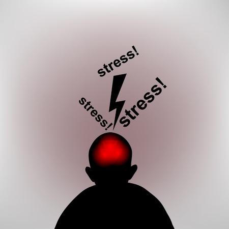 disturbed: Headache. Silhouette of human head with flash.