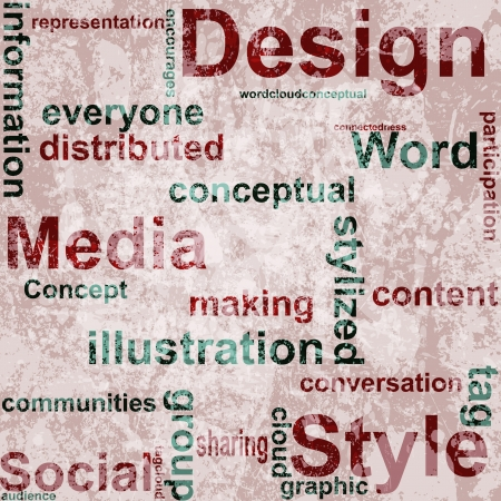 Word Grunge collage on background. Vector