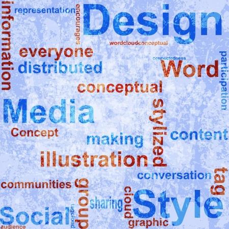 Word Grunge collage on background. Vector