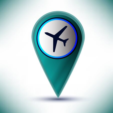 glossy travel plane Icon Button design element on a blue background  Vector