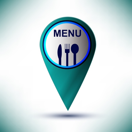 glossy web icon restaurant design element on a blue background  Vector