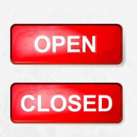 a sign of open and closed in red on a white background Vector