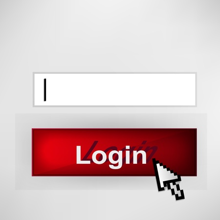 Login button - with abstract cursor illustration  Vector