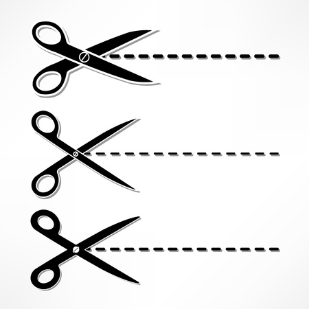 scissors cut lines Vector