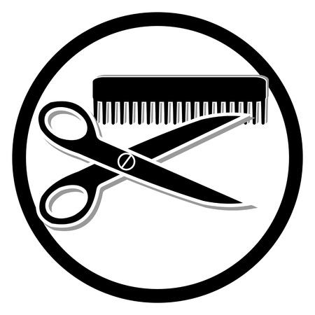 peigne et ciseaux: coupe de cheveux ou un symbole salon de coiffure Illustration