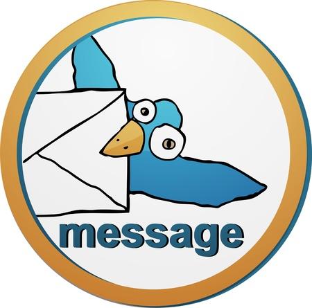 Cute Little Blue Bird carrying an envelope Stock Vector - 14305244