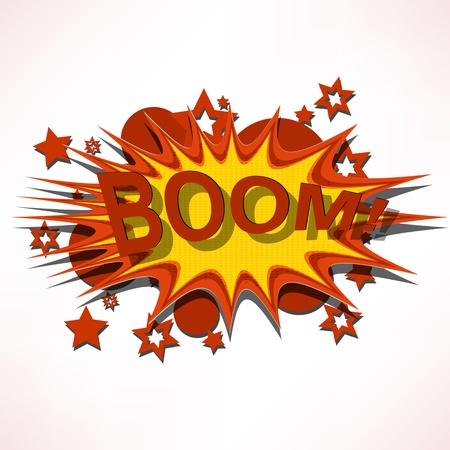 explodindo: Lança. Explosão da banda desenhada.