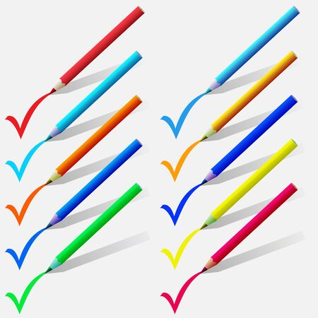 set of colorful pencils put a tick on a white background. 版權商用圖片 - 14747446