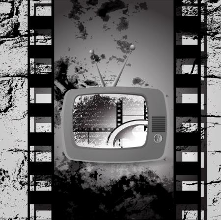 cute retro tv vector, Film cinema camera in film strip frame photo