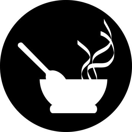 cocinero italiano: Chef sombrero con el signo de cuchillo y tenedor
