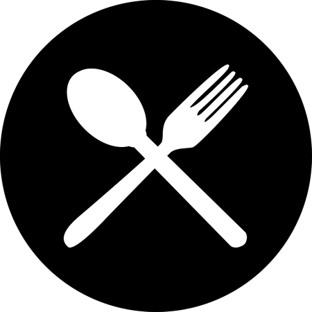 Cutlery icons  Fork, knife and spoon silhouettes