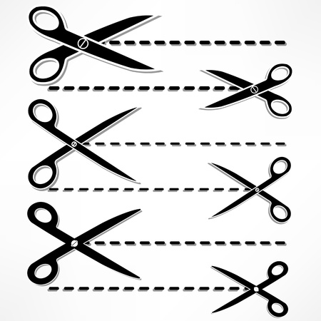 scissors cut lines Stock Vector - 15777543