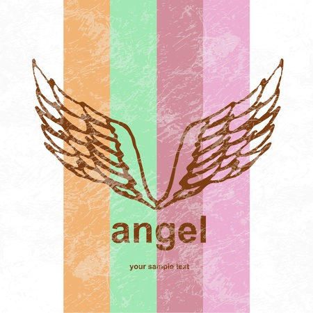 Vector illustration of angel icon. retro background. illustration
