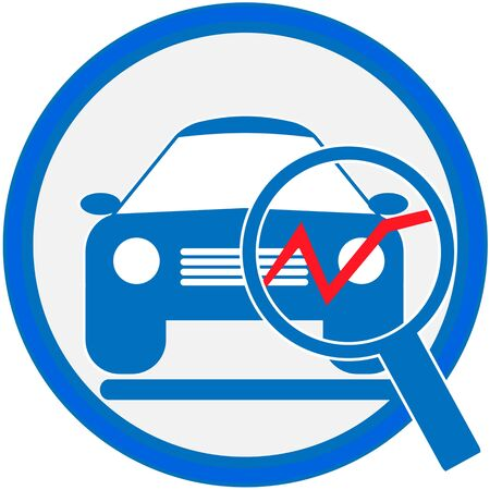 handglass: Automotive diagnostic repair icon. Stock Photo