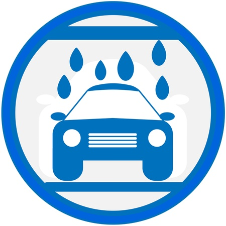 autolavaggio: cartello blu con l'immagine di lavaggio auto