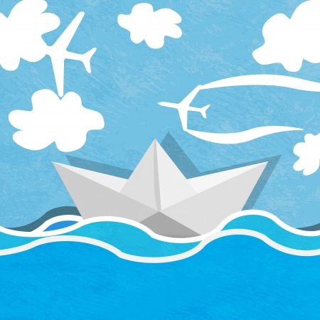 Paper boat on a background of ocean blue and cloudy sky with planes  Vector