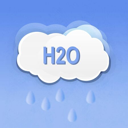 h20: drops of water falling from the clouds (H2O).