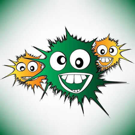 Crazy furry funny face cartoon design vector background photo