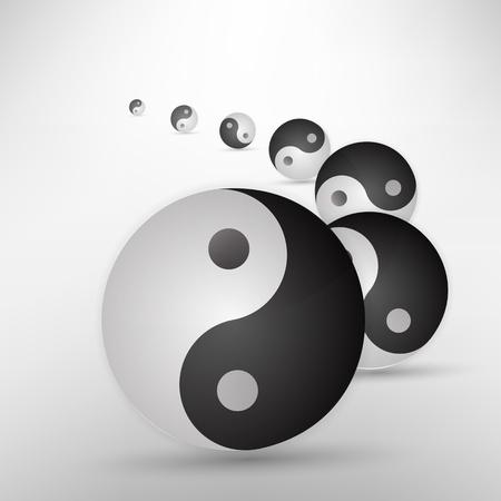 Yin yang glitter sign isolated on white, vector illustration