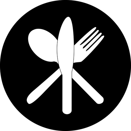 Cutlery icons. Fork, knife and spoon silhouettes . Stock Photo - 16168762