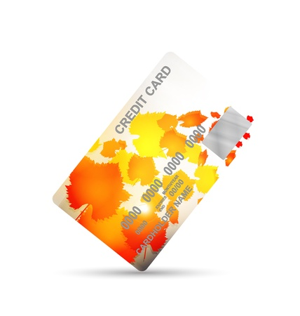 vernal: credit card on autumn isolated on a white background. business concept Stock Photo