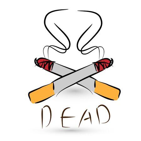 smouldering cigarette: stop smoking concept,  danger of cigarettes  Stock Photo