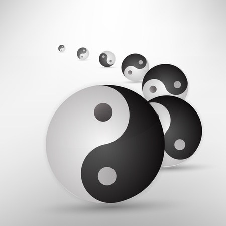 good karma: Yin yang glitter sign isolated on white, vector illustration