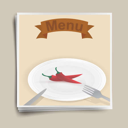 restaurant menu, red chili pepper on a plate, retro poster. Stock Photo - 16538865