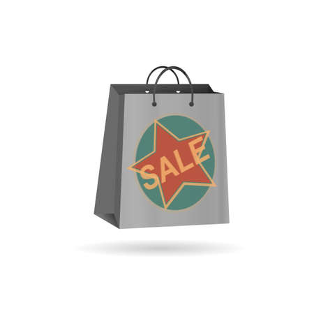 empty shopping bag gray with a star on white background photo